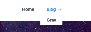 Navigation dropdown: The Blog tab on the website navigation has a dropdown arrow which opens a menu with one option, Grav.