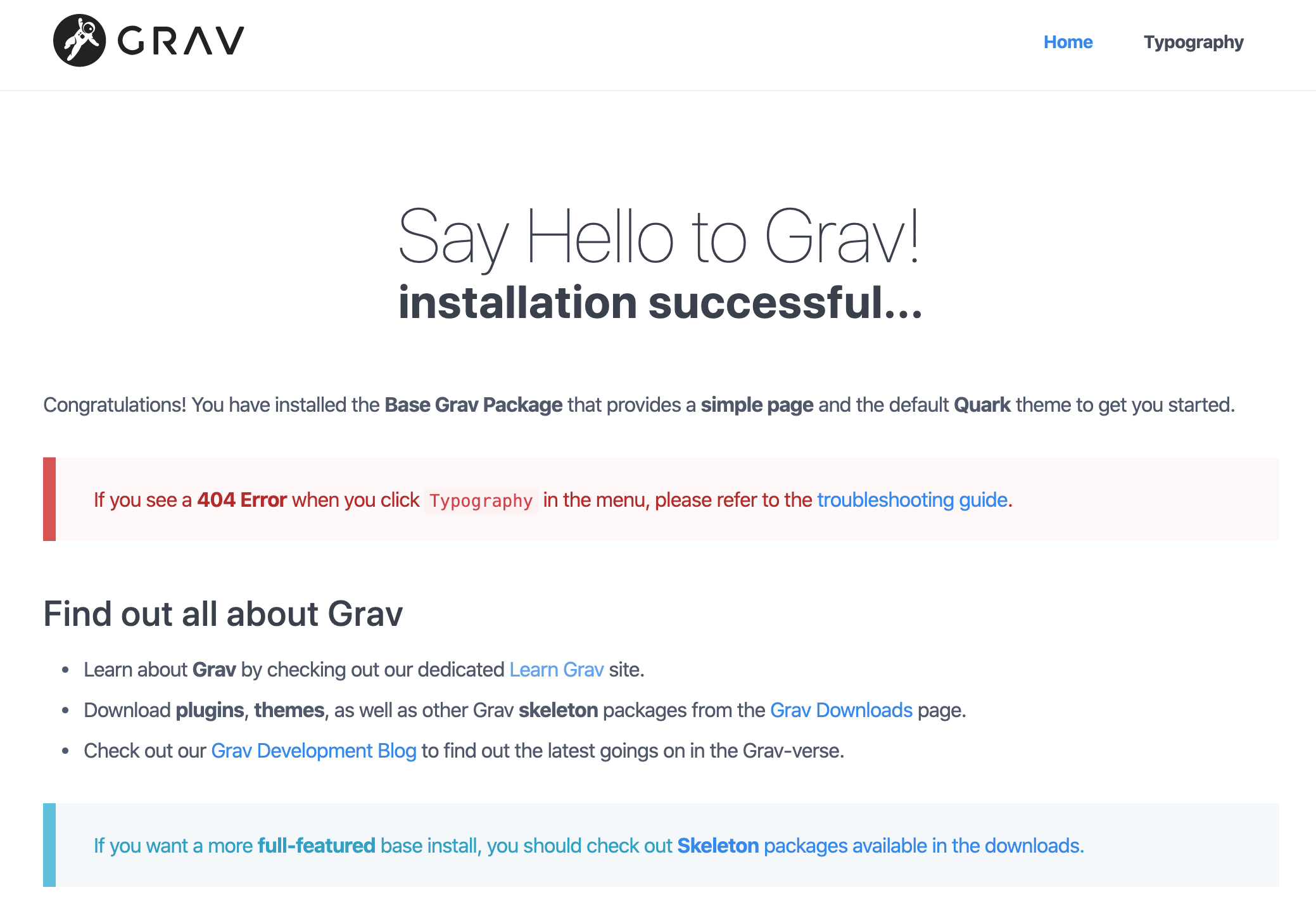 Default page provides general information about Grav.