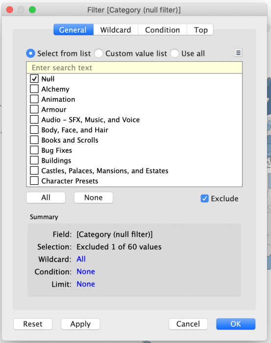 Setting filter to exclude Null Category values