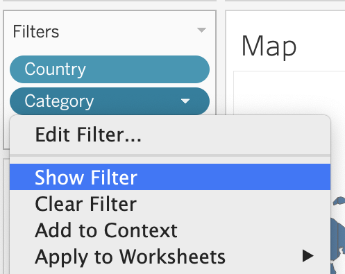 Choosing Show Filter for Category filter