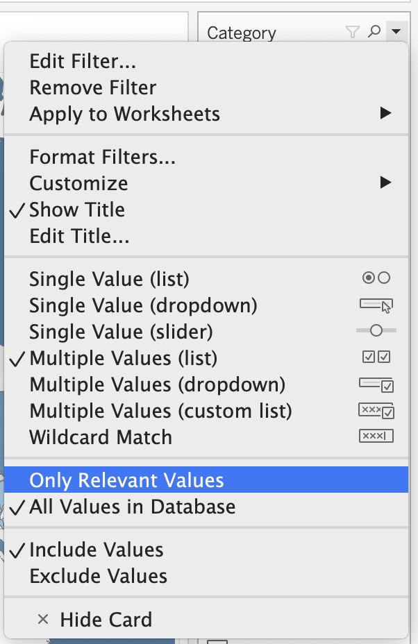 Setting the displayed Category filter to Only Relevant Values