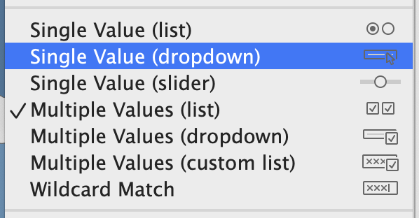 Setting the displayed Category filter to Single Value (dropdown)