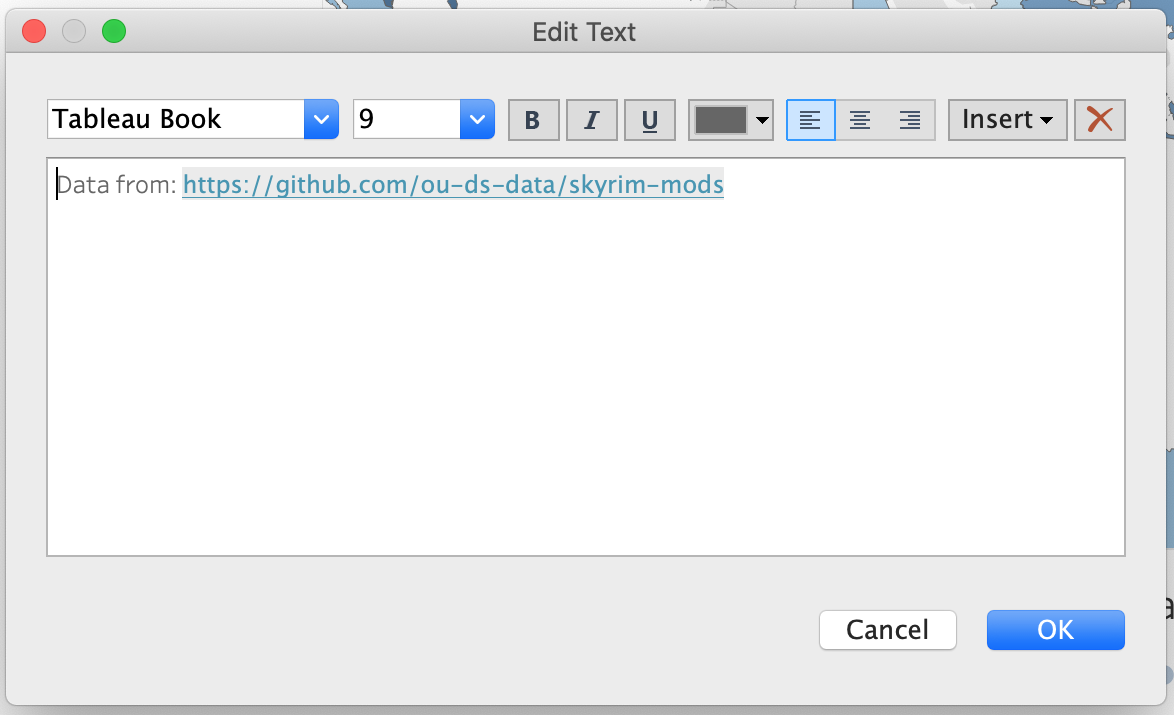 The Edit Text dialog box with the previous words added