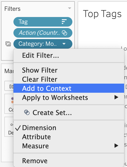 Add category filter to context