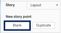 Buttons for new story point: Blank, Duplicate